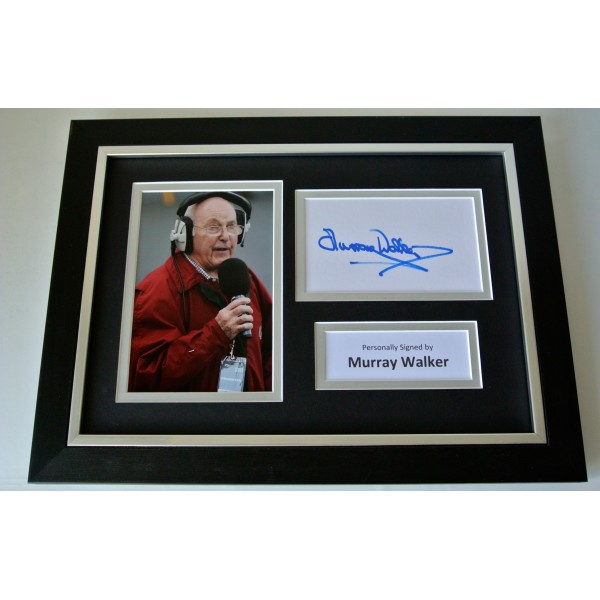 Murray Walker Signed A4 FRAMED photo Autograph display Formula 1 Racing & COA Perfect Gift