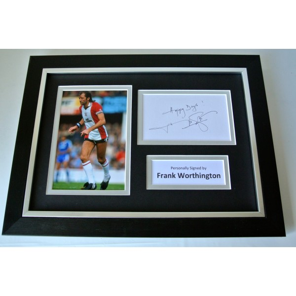Frank Worthington Signed A4 FRAMED photo Autograph display Southampton & COA Perfect Gift