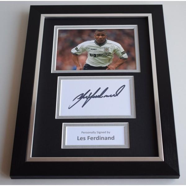 Les Ferdinand Signed A4 FRAMED photo Autograph display Tottenham Hotspur COA AFTAL Memorabilia
