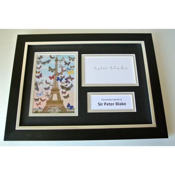 Peter Blake Signed A4 FRAMED photo Autograph display Art Artist Music & COA Perfect Gift