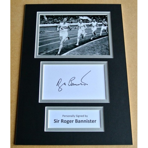 ROGER BANNISTER SIGNED AUTOGRAPH A4 PHOTOGRAPH PHOTO DISPLAY 4 MIN MILE COA PERFECT GIFT