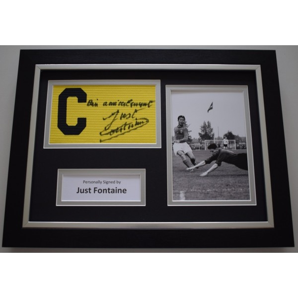 Just Fontaine SIGNED FRAMED Captains Armband A4 Display France Football    AFTAL &  COA Memorabilia PERFECT GIFT