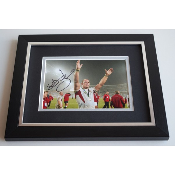 Lawrence Dallaglio SIGNED 10X8 FRAMED Photo Autograph England Rugby Display  AFTAL & COA Memorabilia