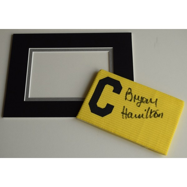 Bryan Hamilton Signed Captains Armband free display Ipswich Town Everton PROOF  AFTAL & COA Memorabilia