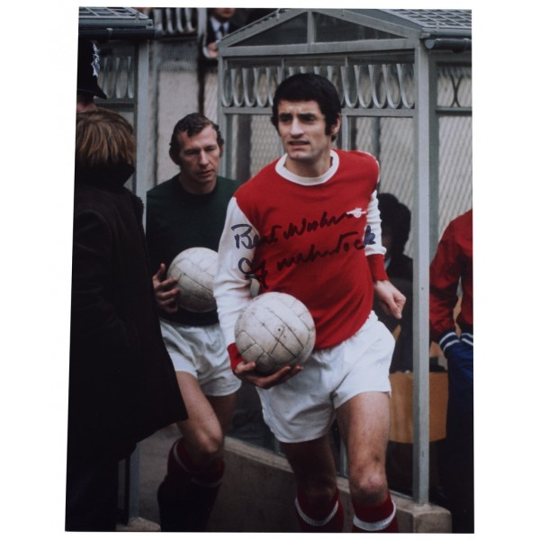 Frank McLintock SIGNED 10x8 Photo Autograph Arsenal Football Sport AFTAL  COA Memorabilia PERFECT GIFT