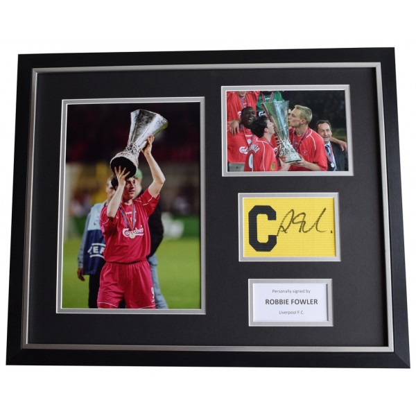 Robbie Fowler SIGNED FRAMED Huge Captains Armband Photo Display Liverpool  AFTAL & COA Memorabilia