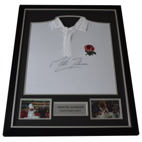 Martin Johnson SIGNED FRAMED Shirt Autograph England Rugby Union PROOF   AFTAL &  COA Memorabilia PERFECT GIFT