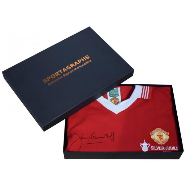 Jimmy Greenhoff SIGNED Manchester United Shirt Autograph Gift Box New AFTAL &  COA Memorabilia PERFECT GIFT