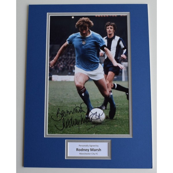 Rodney Marsh SIGNED autograph 16x12 photo display Manchester City AFTAL & COA AFTAL MEMORABILIA