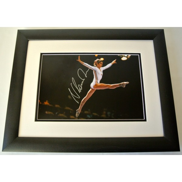 Nadia Comaneci SIGNED FRAMED Photo Autograph 16x12 Huge display Gymnastics & COA      PERFECT GIFT