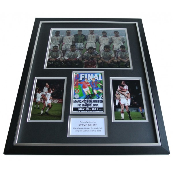 Steve Bruce SIGNED FRAMED Photo Autograph Huge display Manchester United AFTAL & COA Memorabilia PERFECT GIFT