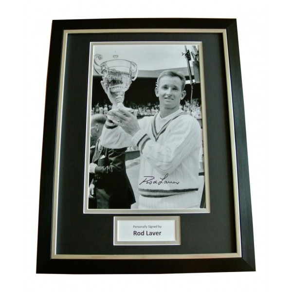 ROD LAVER HAND SIGNED & FRAMED AUTOGRAPH PHOTO DISPLAY TENNIS LEGEND GIFT & COA   PERFECT GIFT