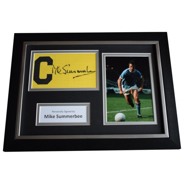 Mike Summerbee Signed FRAMED Captains Armband A4 Photo Display Manchester City  AFTAL  COA Memorabilia PERFECT GIFT