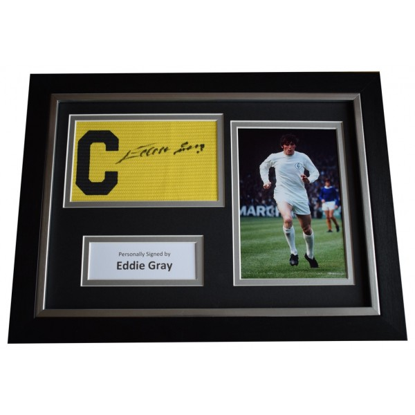 Eddie Gray Signed FRAMED Captains Armband A4 Photo Display Leeds United   AFTAL  COA Memorabilia PERFECT GIFT