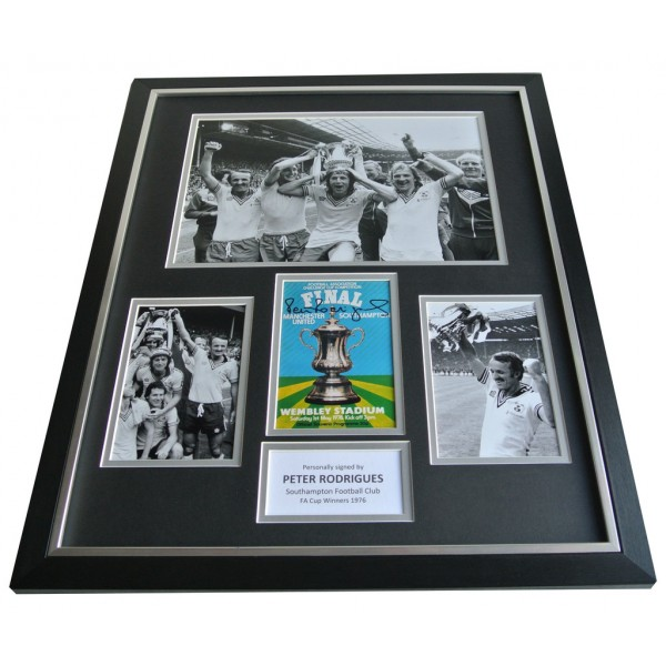 Peter Rodrigues SIGNED FRAMED Photo Autograph Huge display Southampton FA Cup 76 AFTAL & COA Memorabilia PERFECT GIFT