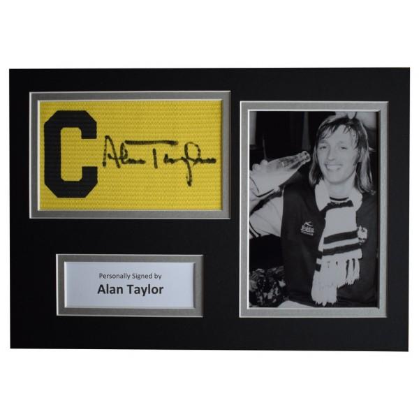 Alan Taylor Signed Captains Armband A4 photo display West Ham Utd Football  AFTAL  COA Memorabilia PERFECT GIFT