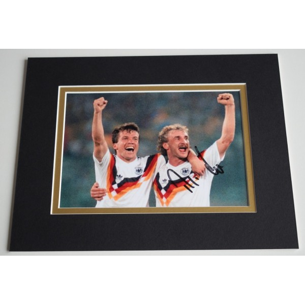 Rudi Voller Signed Autograph 10x8 photo display Germany Football   AFTAL & COA Memorabilia