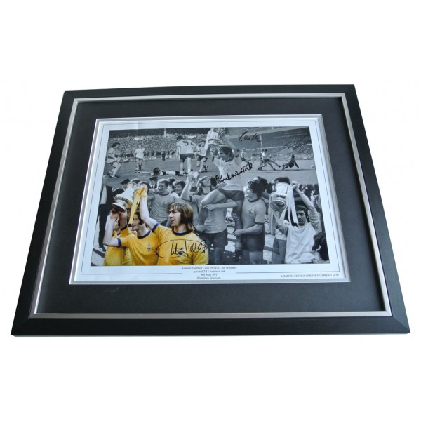 1971 FA CUP Arsenal Charlie George Frank McLintock Eddie Kelly SIGNED FRAMED Photo Autograph Display AFTAL & COA Memorabilia PERFECT GIFT