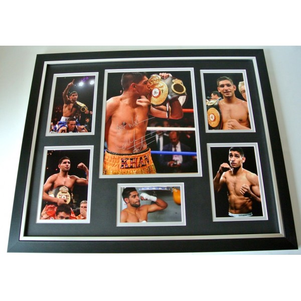Amir Khan SIGNED FRAMED Huge Photo Mount Autograph display Boxing PROOF & COA  PERFECT GIFT