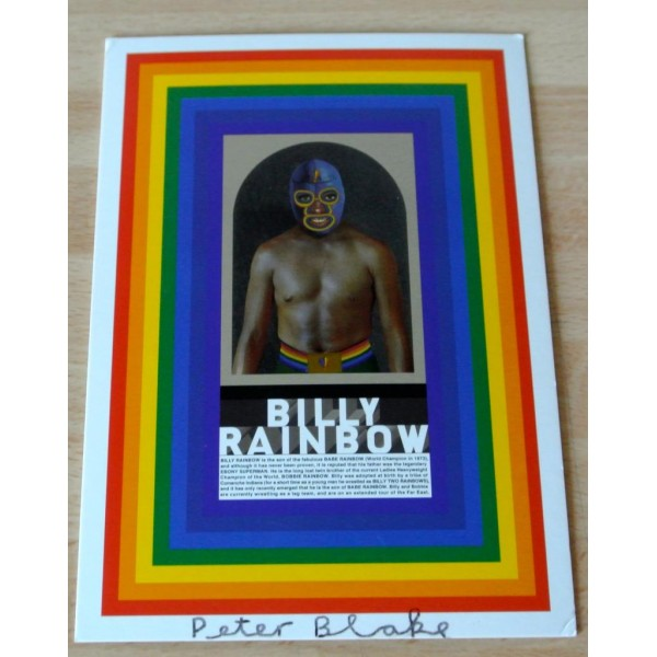 Peter Blake Signed Autograph Official Postcard BILLY RAINBOW ART   AFTAL & COA Memorabilia