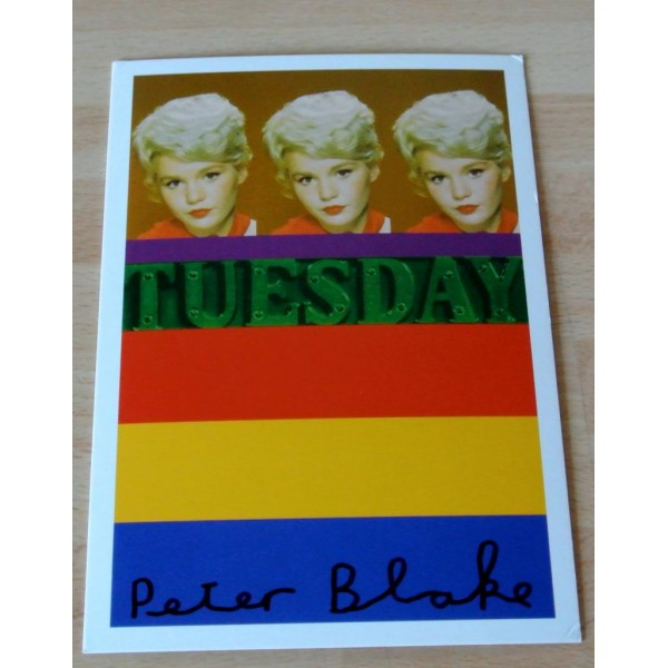 Peter Blake Signed Autograph Official Postcard 'TUESDAY WELD' ART  AFTAL & COA Memorabilia
