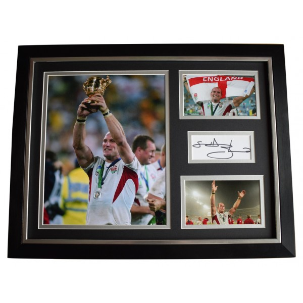 Lawrence Dallaglio SIGNED FRAMED Photo Autograph 16x12 display England Rugby  AFTAL  COA Memorabilia PERFECT GIFT