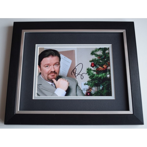Ricky Gervais SIGNED 10x8 FRAMED Photo Autograph Display TV The Office   AFTAL &  COA Memorabilia PERFECT GIFT