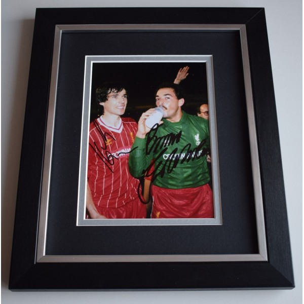 Alan Hansen & Bruce Grobbelaar SIGNED 10x8 FRAMED Photo Autograph Display  AFTAL &  COA Memorabilia PERFECT GIFT
