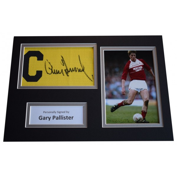 Gary Pallister Signed Captains Armband A4 Photo display Middlesbrough  AFTAL &  COA Memorabilia PERFECT GIFT