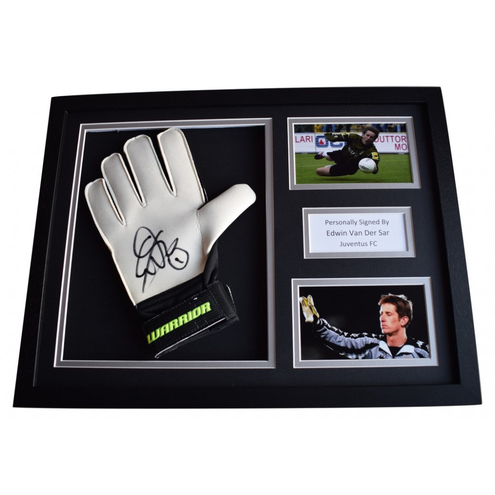 ce711739c38 Edwin van der Sar Signed FRAMED Goalkeeper Glove 16x12 photo display  Juventus FC AFTAL COA Memorabilia