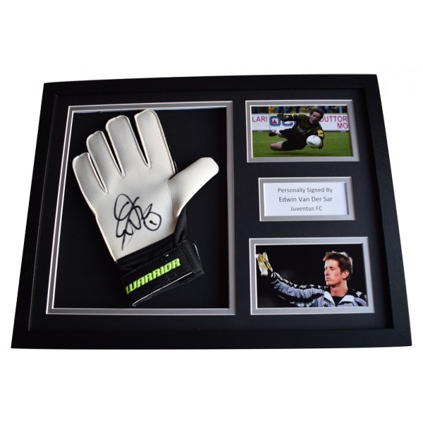 Edwin van der Sar Signed FRAMED Goalkeeper Glove 16x12 photo display Juventus FC AFTAL  COA Memorabilia PERFECT GIFT