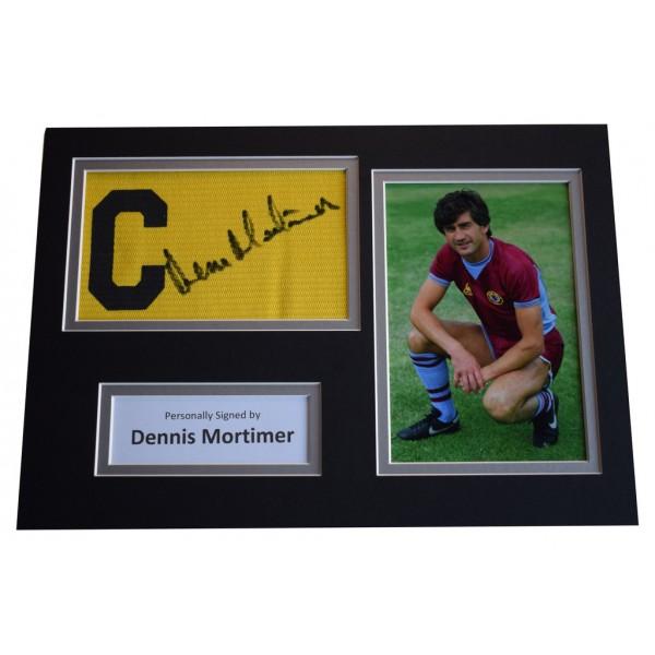 Dennis Mortimer Signed Captains Armband A4 Photo display Aston Villa AFTAL &  COA Memorabilia PERFECT GIFT