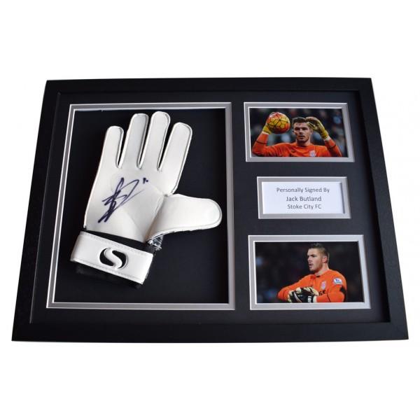 Jack Butland Signed FRAMED Goalkeeper Glove 16x12 photo display Stoke City AFTAL  COA Memorabilia PERFECT GIFT