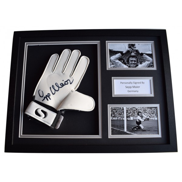 Sepp Maier Signed FRAMED Goalkeeper Glove 16x12 photo display Germany AFTAL  COA Memorabilia PERFECT GIFT