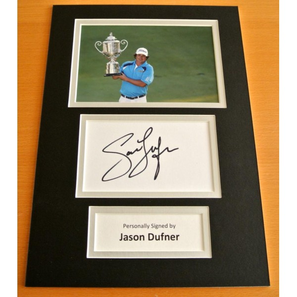 JASON DUFNER HAND SIGNED AUTOGRAPH A4 PHOTO DISPLAY GOLF CHAMPION GIFT & COA CLEARANCE