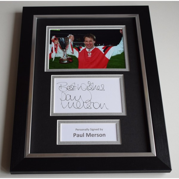 Paul Merson Signed A4 FRAMED photo Autograph display Arsenal Football  AFTAL & COA Memorabilia PERFECT GIFT