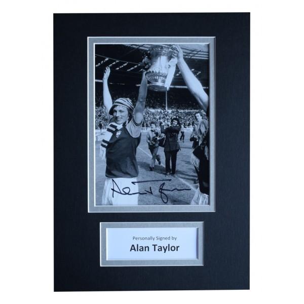 Alan Taylor Signed Autograph A4 photo display West Ham United Football  AFTAL  COA Memorabilia PERFECT GIFT