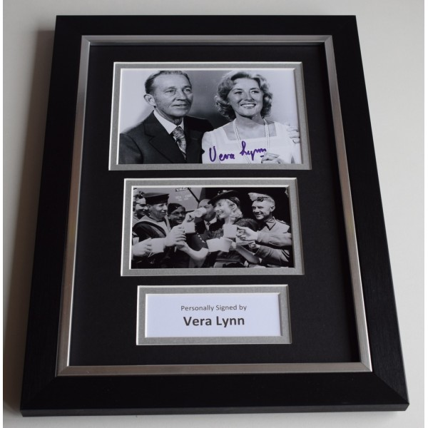 Vera Lynn Signed A4 FRAMED photo Autograph display Forces Music AFTAL & COA Memorabilia PERFECT GIFT