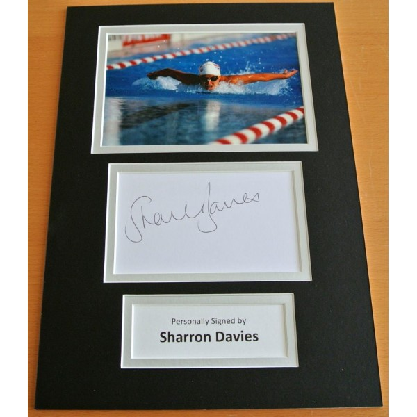 SHARRON DAVIES HAND SIGNED AUTOGRAPH A4 PHOTO DISPLAY SWIMMING PERFECT GIFT COA PERFECT GIFT