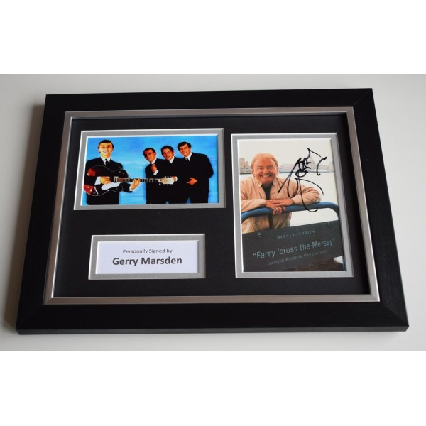 Gerry Marsden Signed A4 FRAMED photo Autograph display 60's Music   AFTAL & COA Memorabilia PERFECT GIFT