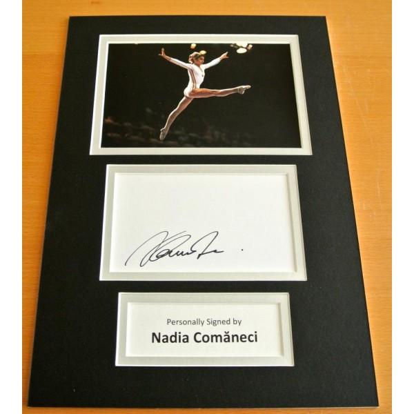 NADIA COMANECI HAND SIGNED AUTOGRAPH A4 PHOTO DISPLAY OLYMPICS GYMNASTICS & COA PERFECT GIFT