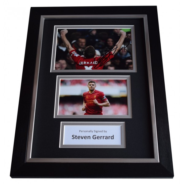 Steven Gerrard Signed A4 FRAMED photo Autograph display Liverpool Football  AFTAL &  COA Memorabilia PERFECT GIFT