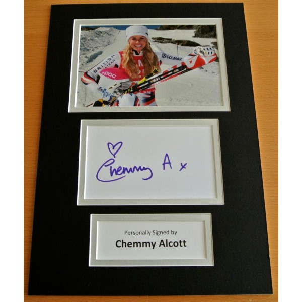 CHEMMY ALCOTT HAND SIGNED AUTOGRAPH A4 PHOTO DISPLAY OLYMPIC SKIING GIFT & COA CLEARANCE