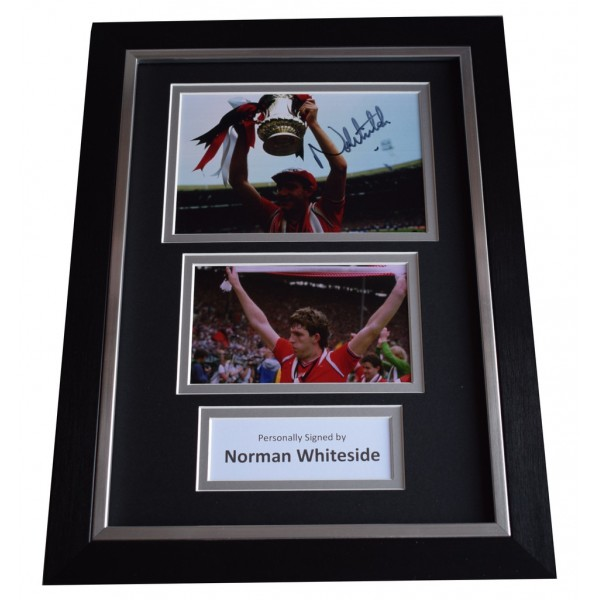 Norman Whiteside Signed A4 FRAMED photo Autograph display Manchester United  AFTAL &  COA Memorabilia PERFECT GIFT