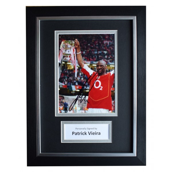 Patrick Vieira Signed A4 FRAMED Autograph Photo Display Arsenal  AFTAL  COA Memorabilia PERFECT GIFT