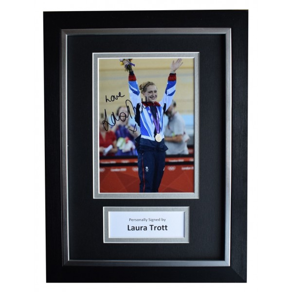 Laura Trott Signed A4 FRAMED Autograph Photo Display Olympic Cyclist  AFTAL  COA Memorabilia PERFECT GIFT
