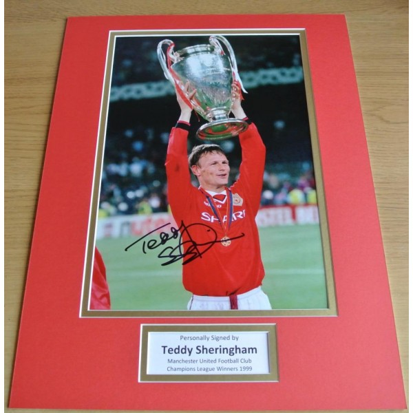 Teddy Sheringham SIGNED autograph 16x12 photo display Manchester United & COA PERFECT GIFT