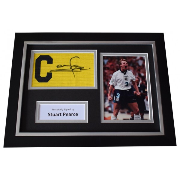 Stuart Pearce Signed FRAMED Captains Armband A4 Photo Display England AFTAL  COA Memorabilia PERFECT GIFT