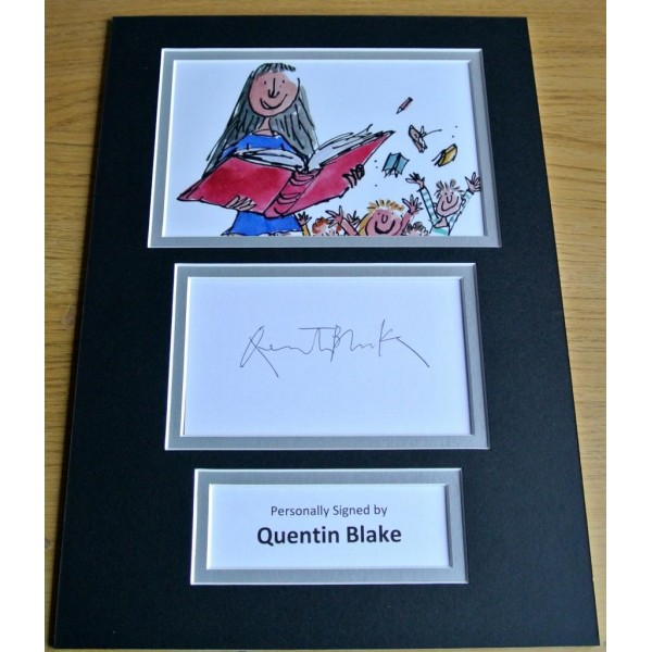 QUENTIN BLAKE HAND SIGNED AUTOGRAPH A4 PHOTO DISPLAY MATILDA ART GIFT & COA PERFECT GIFT