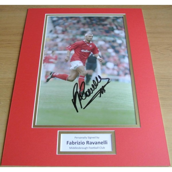 FABRIZIO RAVANELLI HAND SIGNED AUTOGRAPH 16x12 PHOTO MOUNT MIDDLESBROUGH & COA PERFECT GIFT
